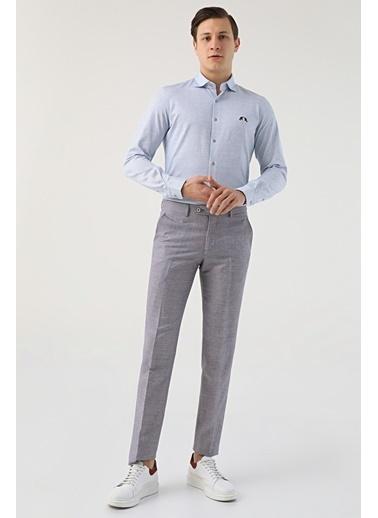D'S Damat Slim Fit Düz Keten Kumaş Pantolon Bordo